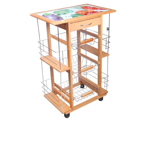 Flagship Kitchen Trolly With Basket -3layer