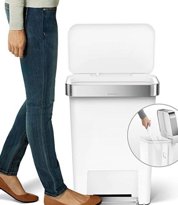 simplehuman 45 Liter Rectangular Kitchen Step Soft-Close Lid, White Plastic trash can